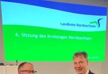 Landrat Kai Emanuel (r.) und Oberstleutnant d. R. Torsten Pötzsch. Foto: LRA/Seidler